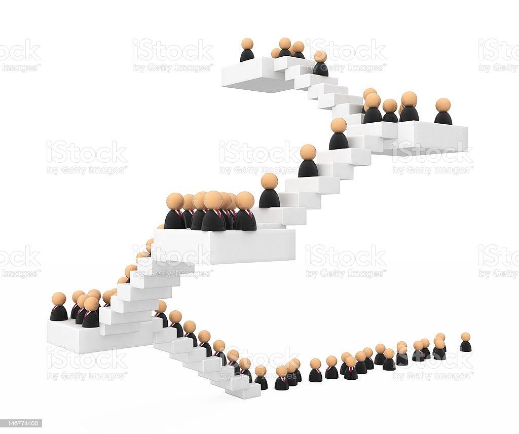 Símbolos de negócios, multidão de escada - foto de acervo