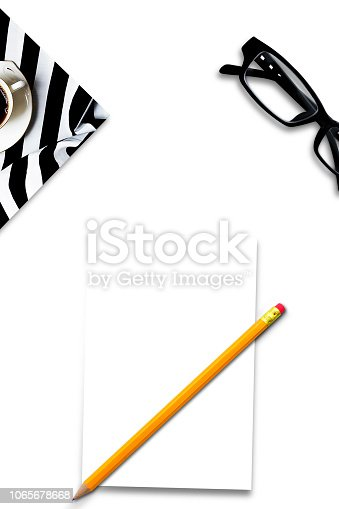 istock Business table top with mock up office supplies on white background. Flat lay design 1065678668
