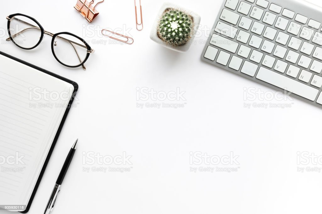 Business table top with mock up office supplies on white background.Flat lay design. stock photo