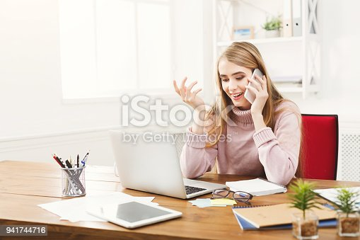 istock Business talk, woman consulting by phone at office 941744716