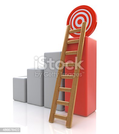 istock Business target concept , 3d business graph with wood ladder to 486678422