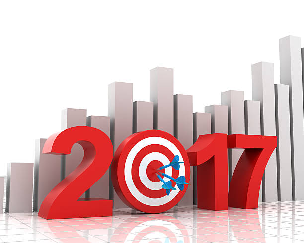 Business target for 2017 with bar chart 2017 target with bar chart background, 3d render 2017 stock pictures, royalty-free photos & images