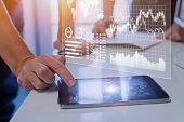 istock Business team analyzing marketing, sales, financial metrics on analytics report 902112924