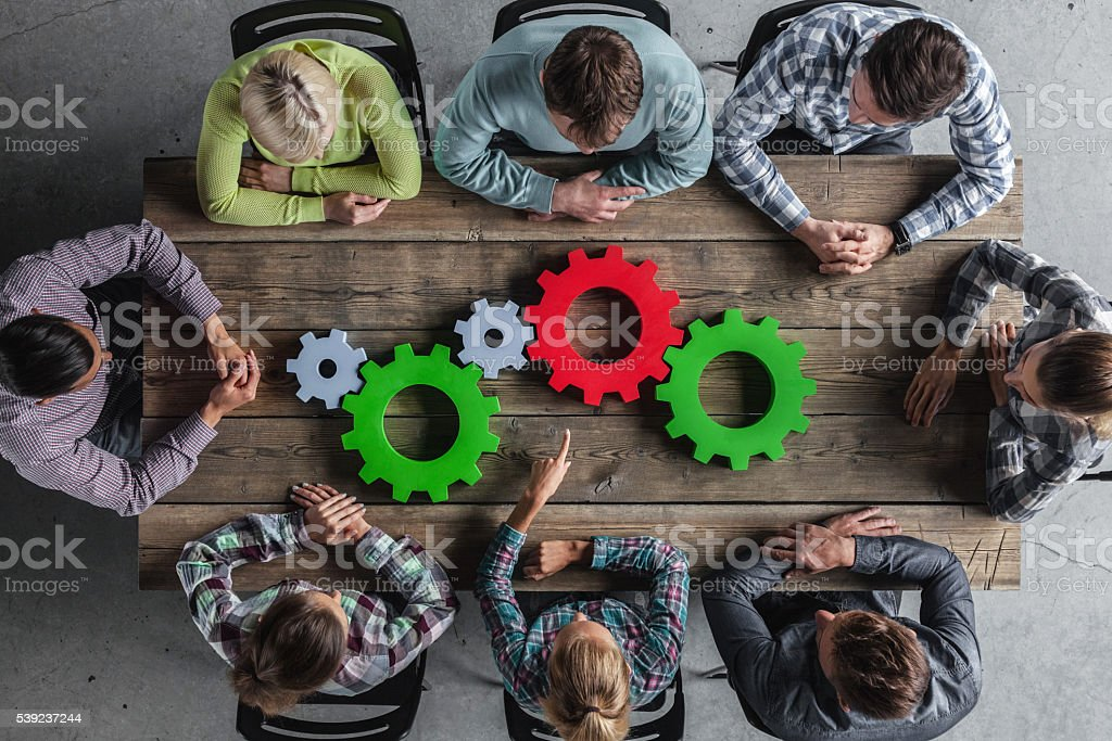 Business team and cogs royalty-free stock photo