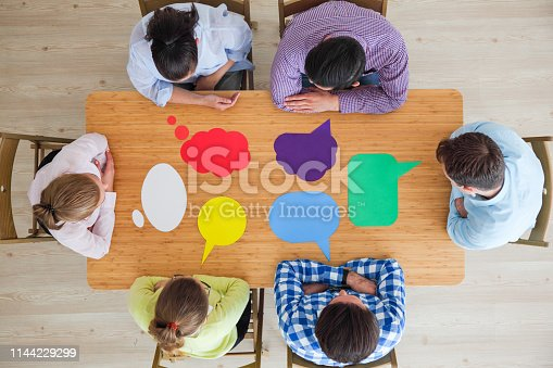 istock Business team and dialog boxes 1144229299