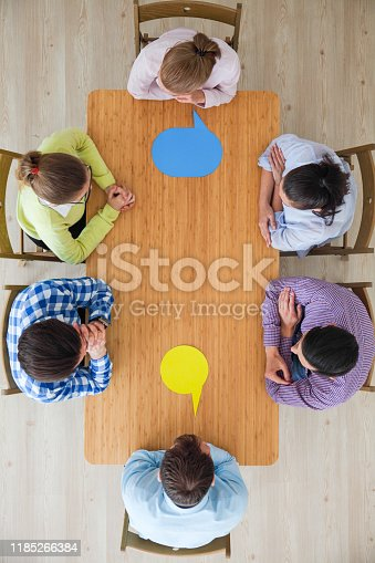 istock Business team and dialog boxes 1185266384