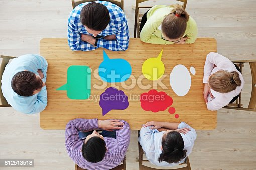 istock Business team and dialog boxes 812513518