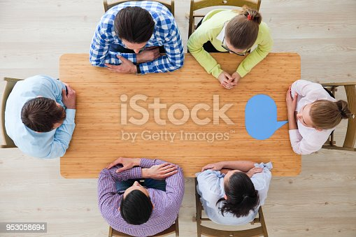 istock Business team and dialog boxes 953058694