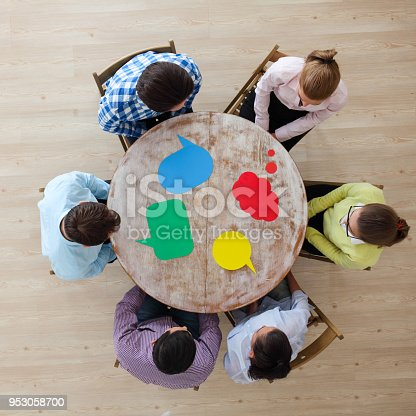 istock Business team and dialog boxes 953058700