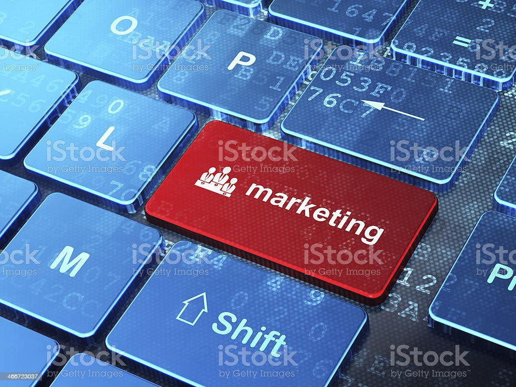 Business Team and Marketing on computer keyboard background stock photo
