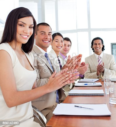 497183120 istock photo Business team applauding after a conference 856142480