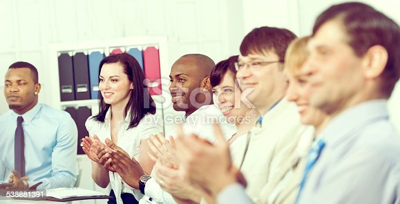 istock Business team applauding at conference table 538881391