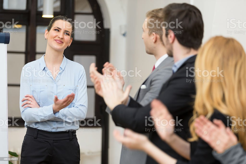 Business team applauding stock photo