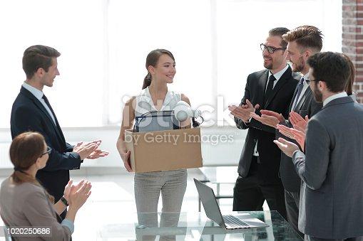 639540494 istock photo business team applauds the new employee 1020250686