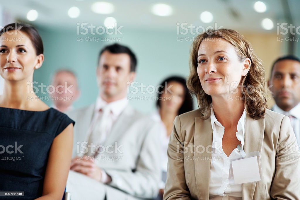 Business team at a seminar stock photo