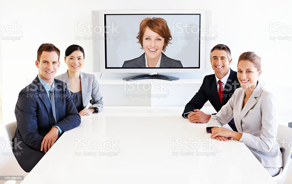 Business Team at a Video Conference stock photo