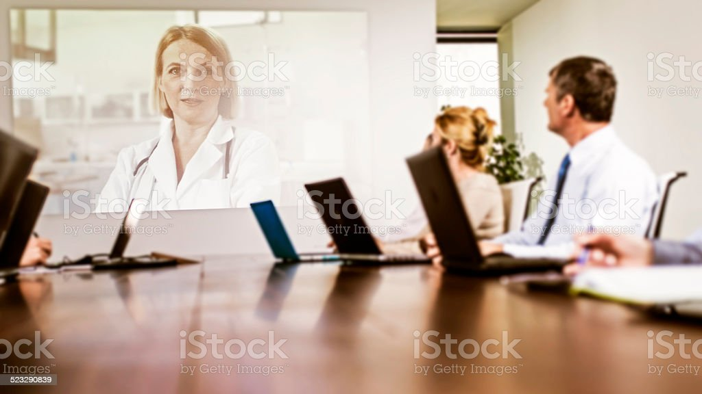 Business Team Attending Video Conference stock photo