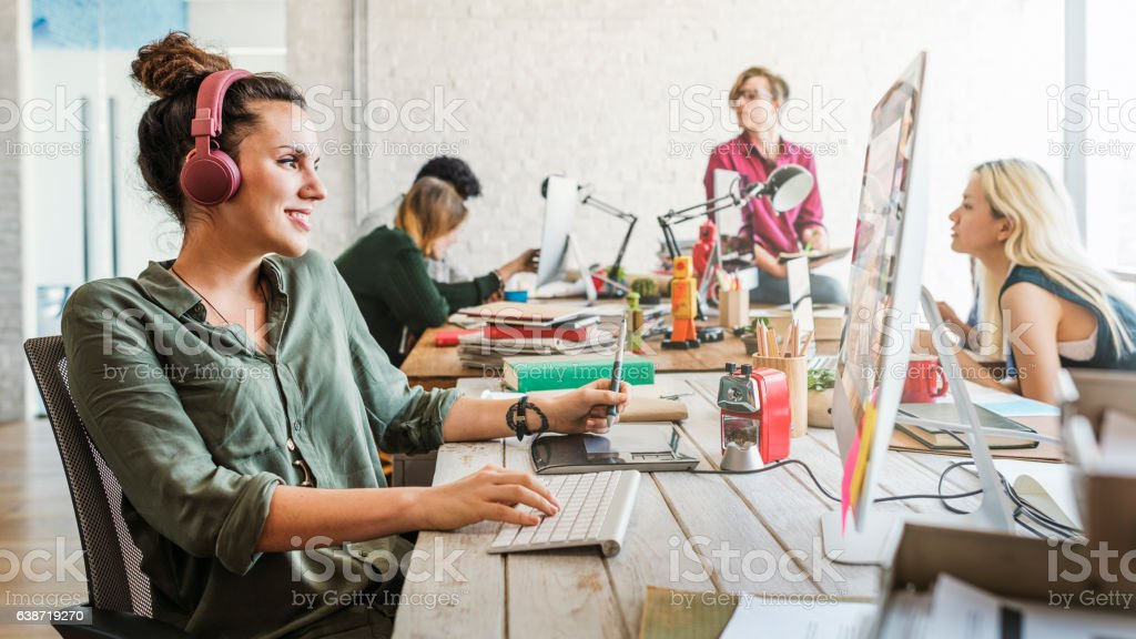 Business Team Brainstorming Workspace Concept stock photo