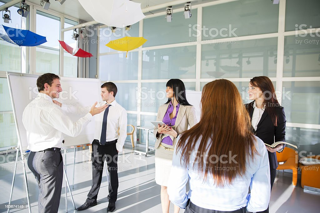 Business team brainstorming,talking about problems in company...relaxation room royalty-free stock photo