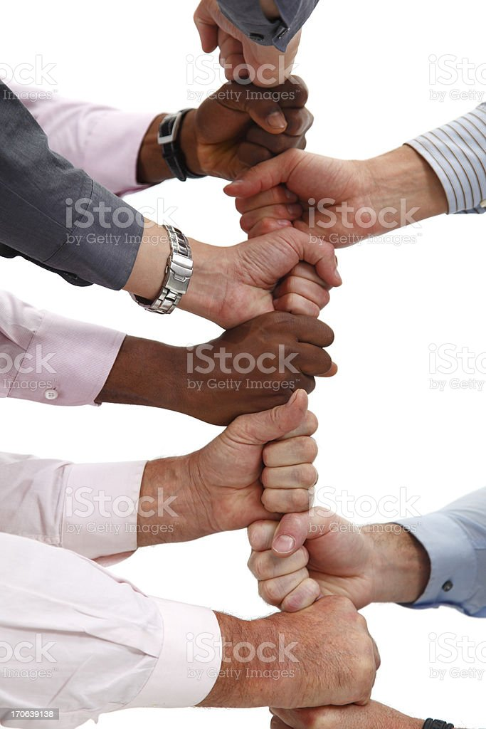 Business team building with fists royalty-free stock photo