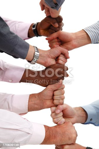 istock Business team building with fists 170639138