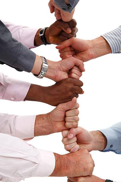 business team building con pugni - mano donna dita unite foto e immagini stock