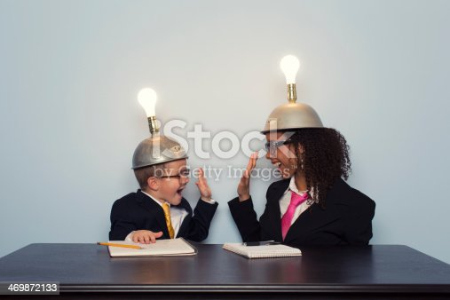 480585411 istock photo Business Team Celebrates wearing Mind Reading Helmets 469872133