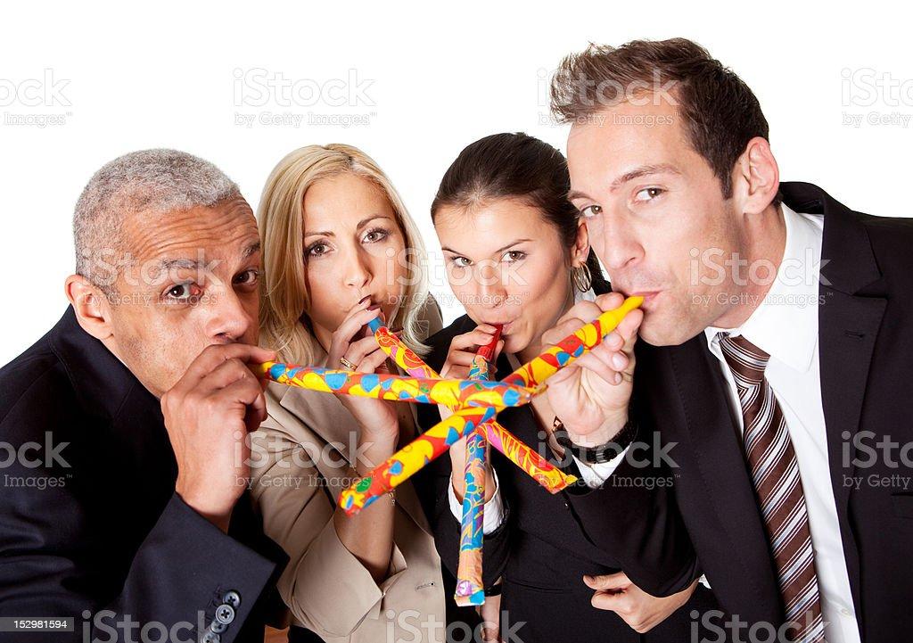 Business team celebrating birthday royalty-free stock photo