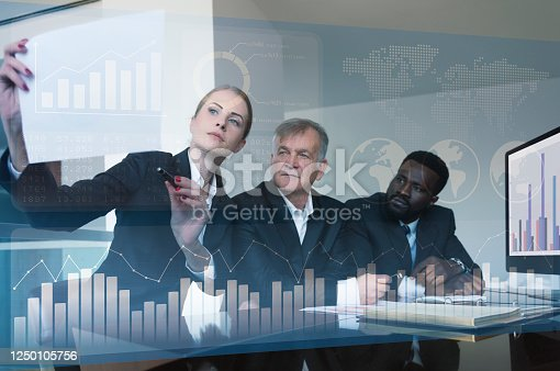 675925952 istock photo Business team discussing business profit 1250105756