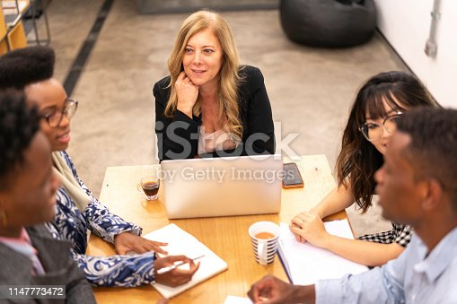 681735120istockphoto Business team discussing during a meeting with boss 1147773472