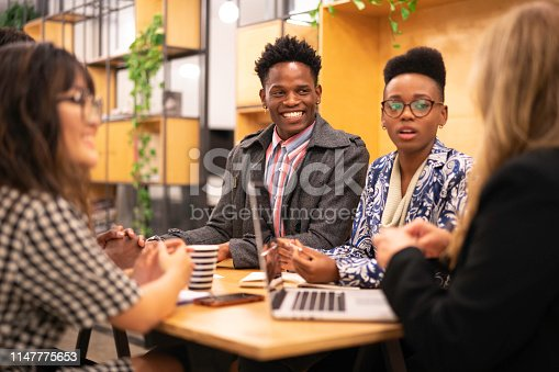 681735120istockphoto Business team discussing during a meeting with boss 1147775653