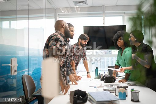 Business team discussing plans during business meeting