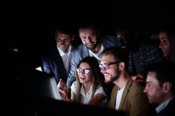 business team discussing stock news stock photo