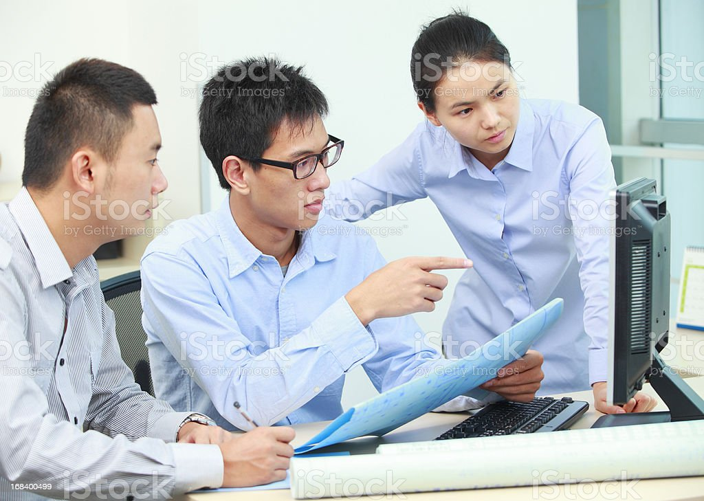 business team discussion in the office royalty-free stock photo