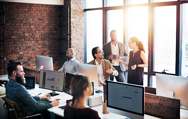 business team discussion meeting corporate concept - dashboard vehicle part stock photos and pictures