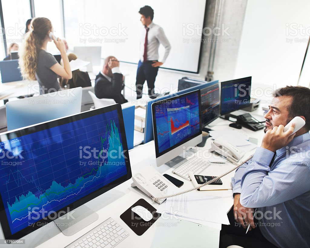 Business Team Finance Stock Exchange Busy Cocnept stock photo