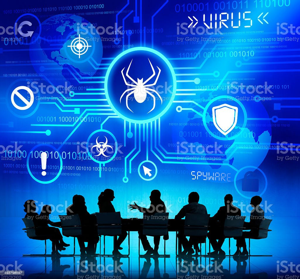 Business Team Having a Meeting about Threat Caused by Viruses stock photo