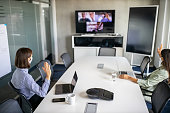 istock Business team having a meeting over internet during pandemic 1263125307