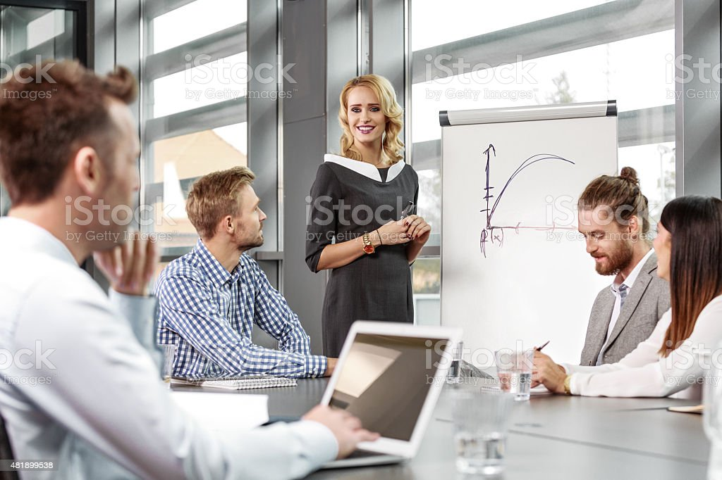 Business team having brainstorming in an office Group of business people having meeting in a board room in an office, discussing new strategy of their company. An attractive businesswoman wearing grey dress standing next to flipchart and giving presentation.  2015 Stock Photo