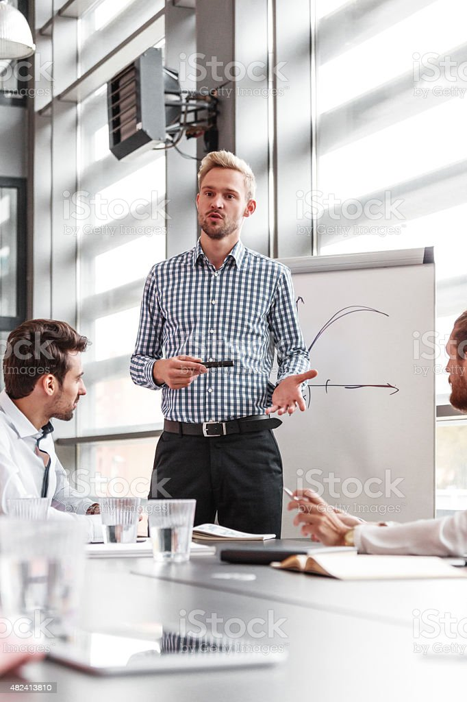 Business team having meeting in an office Group of business people having meeting in a board room, discussing new strategy of their company. Bearded blonde man standing next to flipchart and giving presentation. 2015 Stock Photo