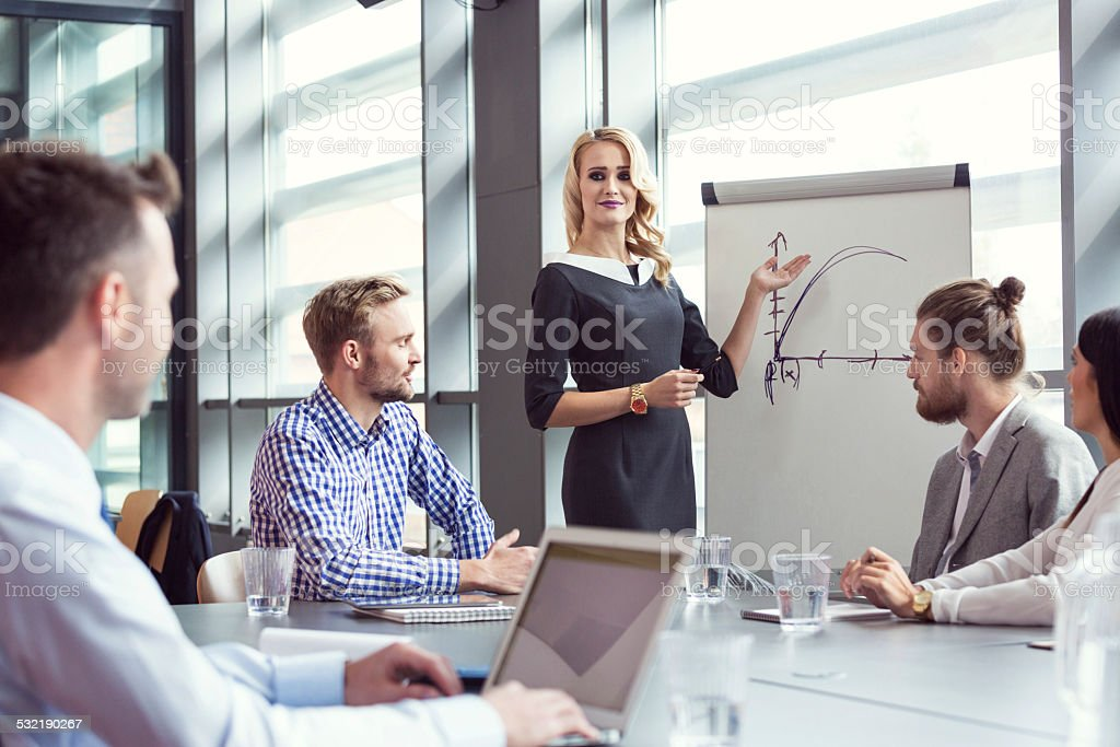 Business team having meeting in an office Group of business people having meeting in a board room, discussing new strategy of their company. Blonde businesswoman showing graph on the flipchart.  2015 Stock Photo