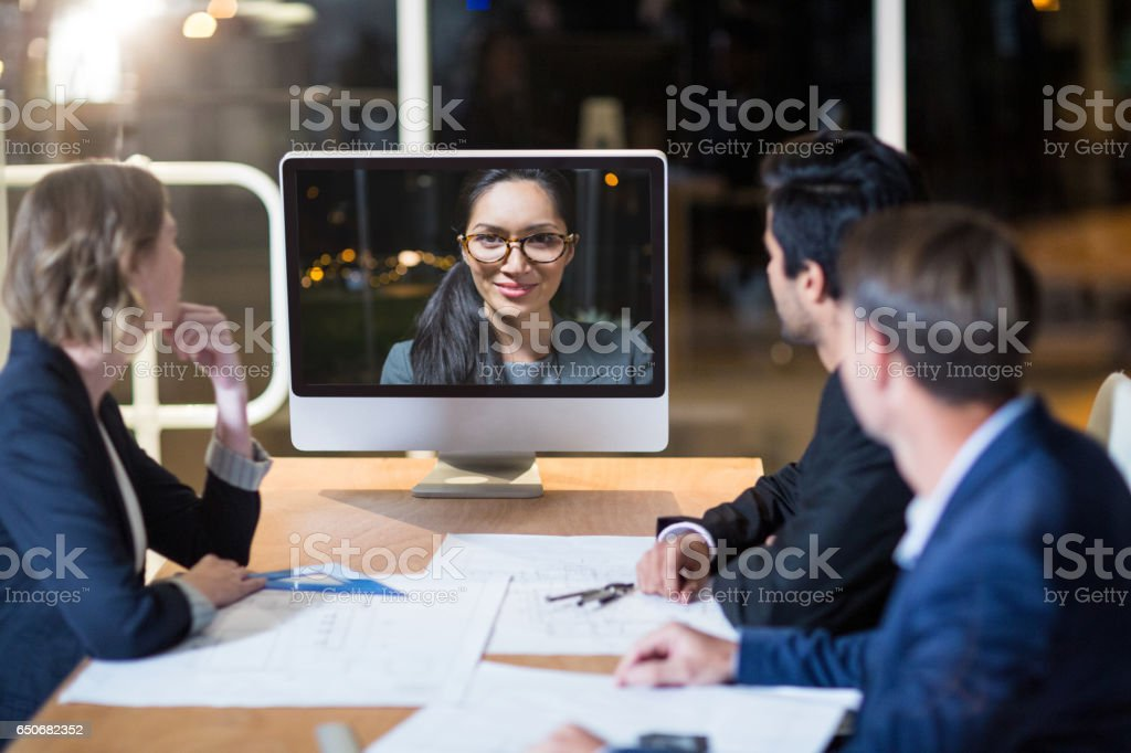 Business team having vide conference stock photo