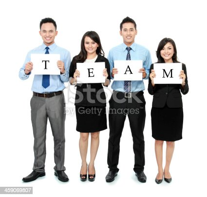 1048561866 istock photo business team holding small blank paper 459069807