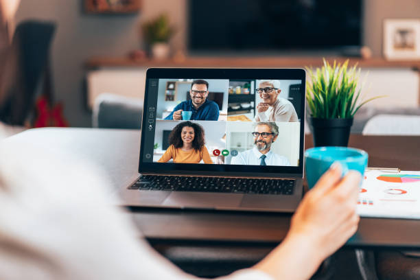 Business team in video conference stock photo