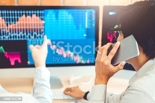 istock Business Team Investment discussing and analysis graph stock market trading,stock chart concept 1068734736