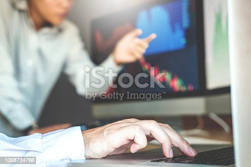 istock Business Team Investment discussing and analysis graph stock market trading,stock chart concept 1068734766