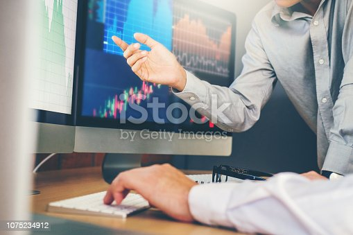 istock Business Team Investment Entrepreneur Trading discussing and analysis graph stock market trading,stock chart concept 1075234912