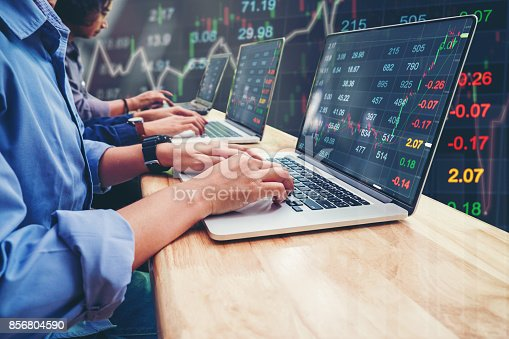 istock Business Team Investment Entrepreneur Trading working on Laptop Stock market exchange information and Trading graph 856804590