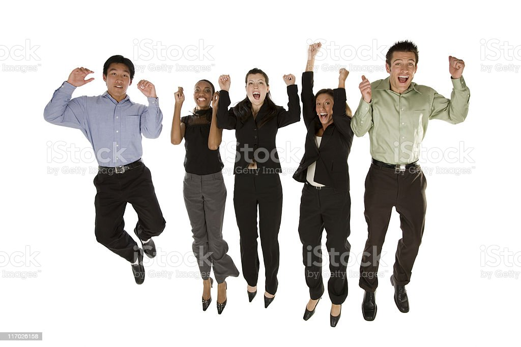 Business team jumping royalty-free stock photo