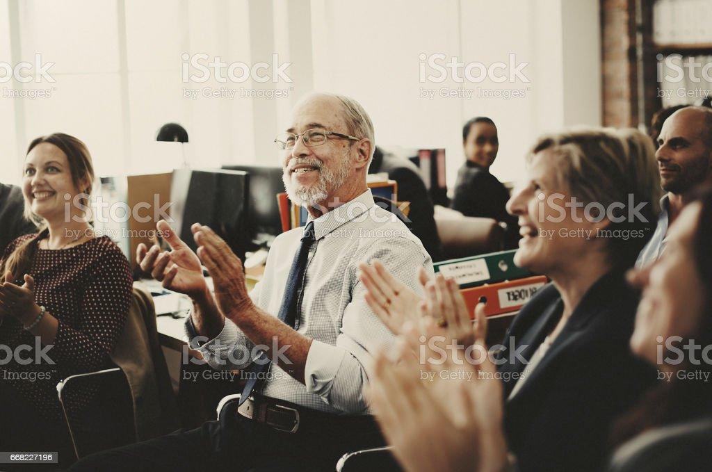 Business Team Meeting Achievement Apploud Concept stock photo